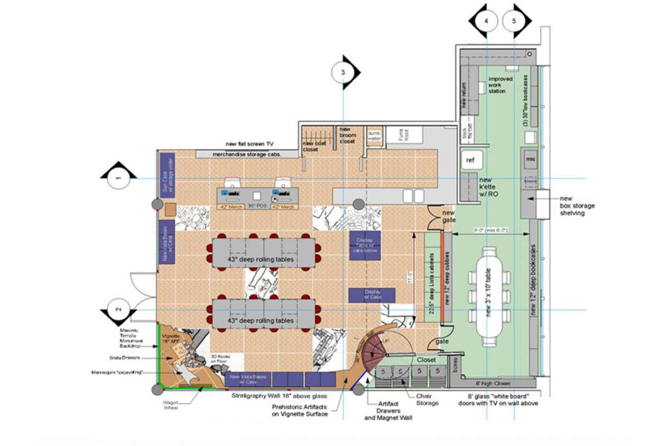 1 CAAM 2FloorPlanFinal.jpg : Archeological site images are inset into carpet for experiential teaching