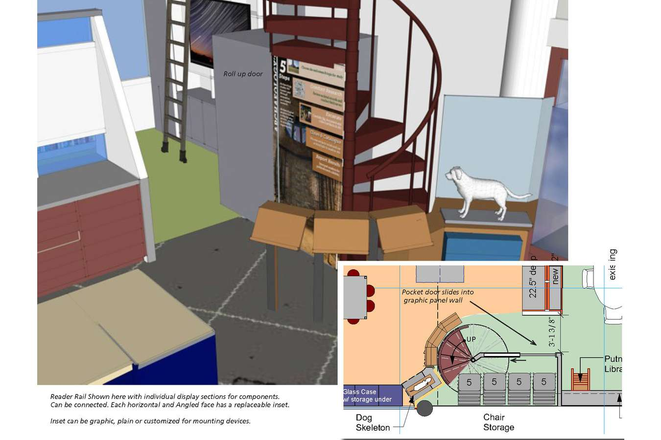 6 CAAM stair view : Spiral stairway access to staff offices, surrounded with display and storage areas