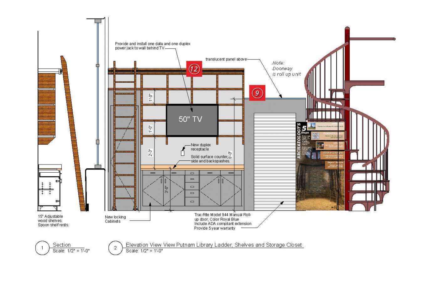 5 CAAM 7-16 12x9 Page_35 : Storage area behind stairs with steel retractable door, graphics align with stair risers