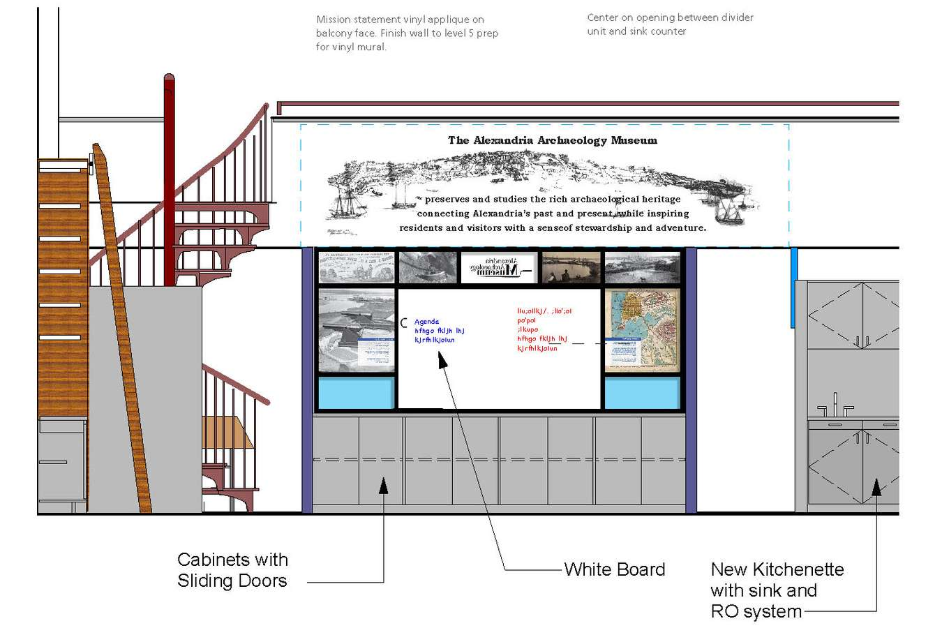 8 CAAM 7-16 Conf Area 76. : Elevation shows view into museum from conference area and graphic treatment of transom