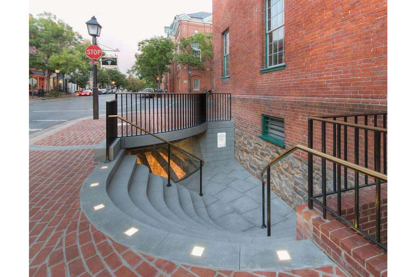 2a 1 HDP_130831_03_FS Bell Stairs : Street view of Gadsby's Tavern Ice Well after restoration and redesign
