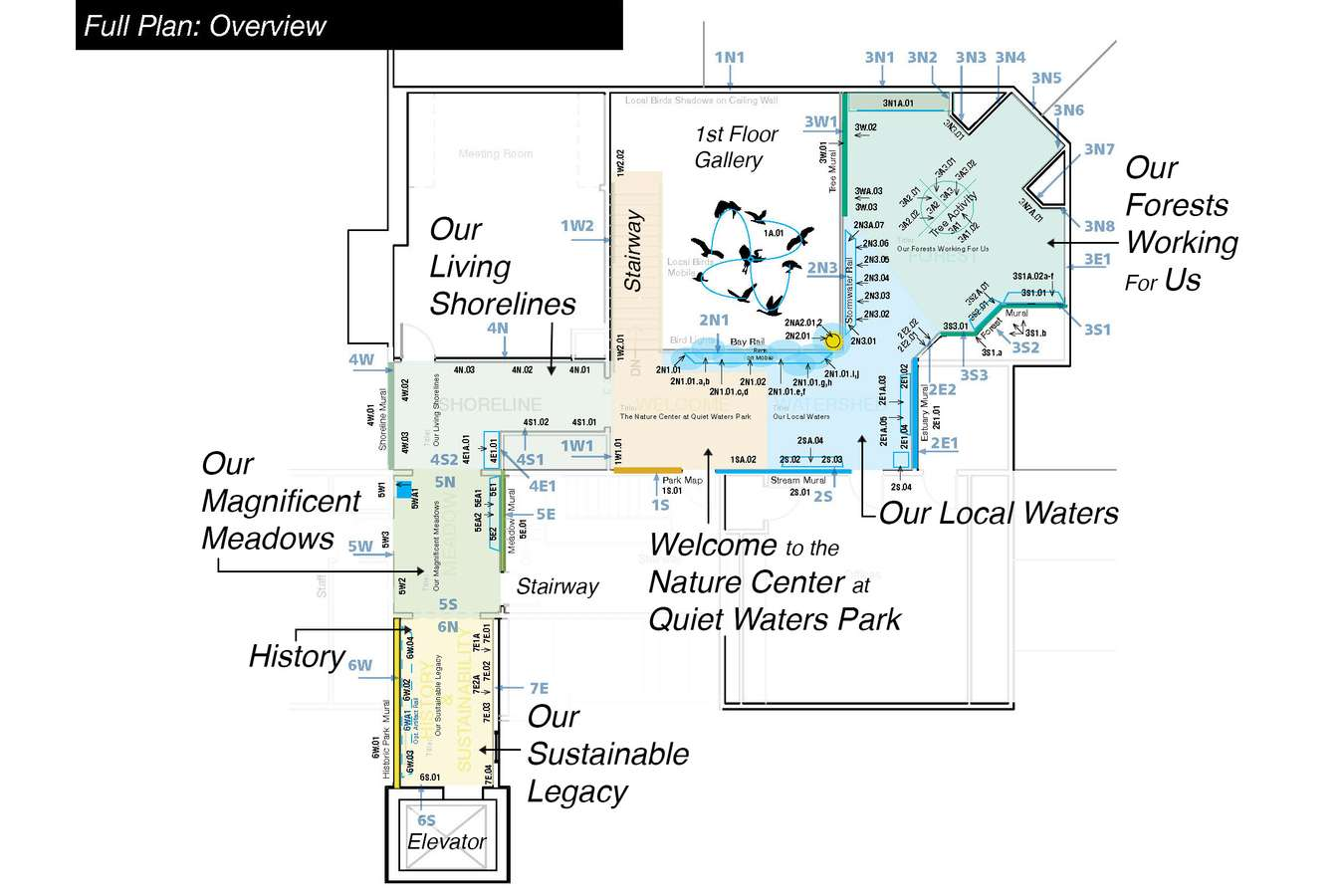 3 QWP MB web 03 : Schematic Floorpan showing graphic layout, key murals and thematic areas.