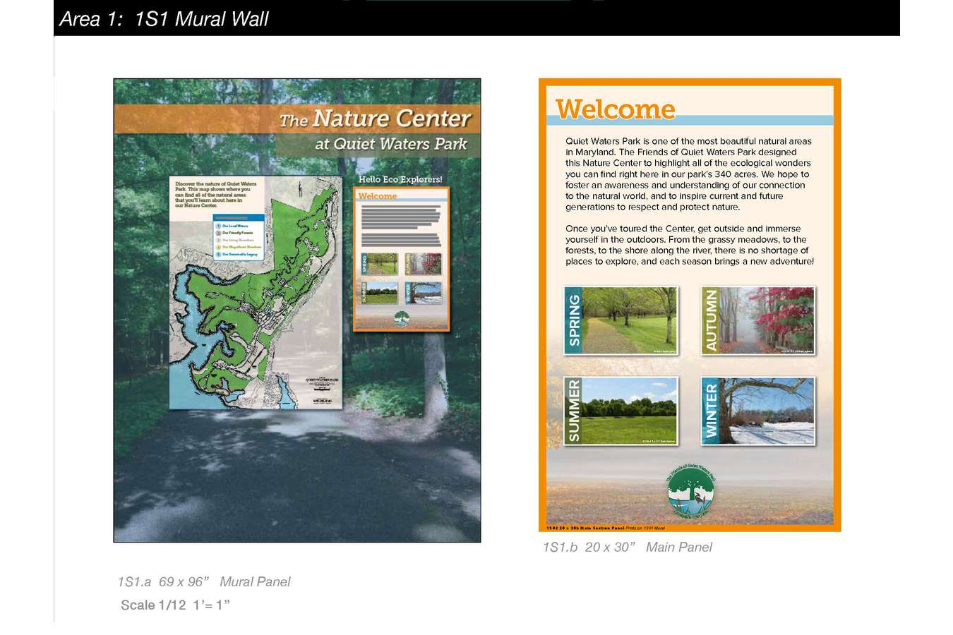 9a QWP MB web 9 : Wall Murals have embedded Main Panel with Overview of Content in Each Thematic Area.