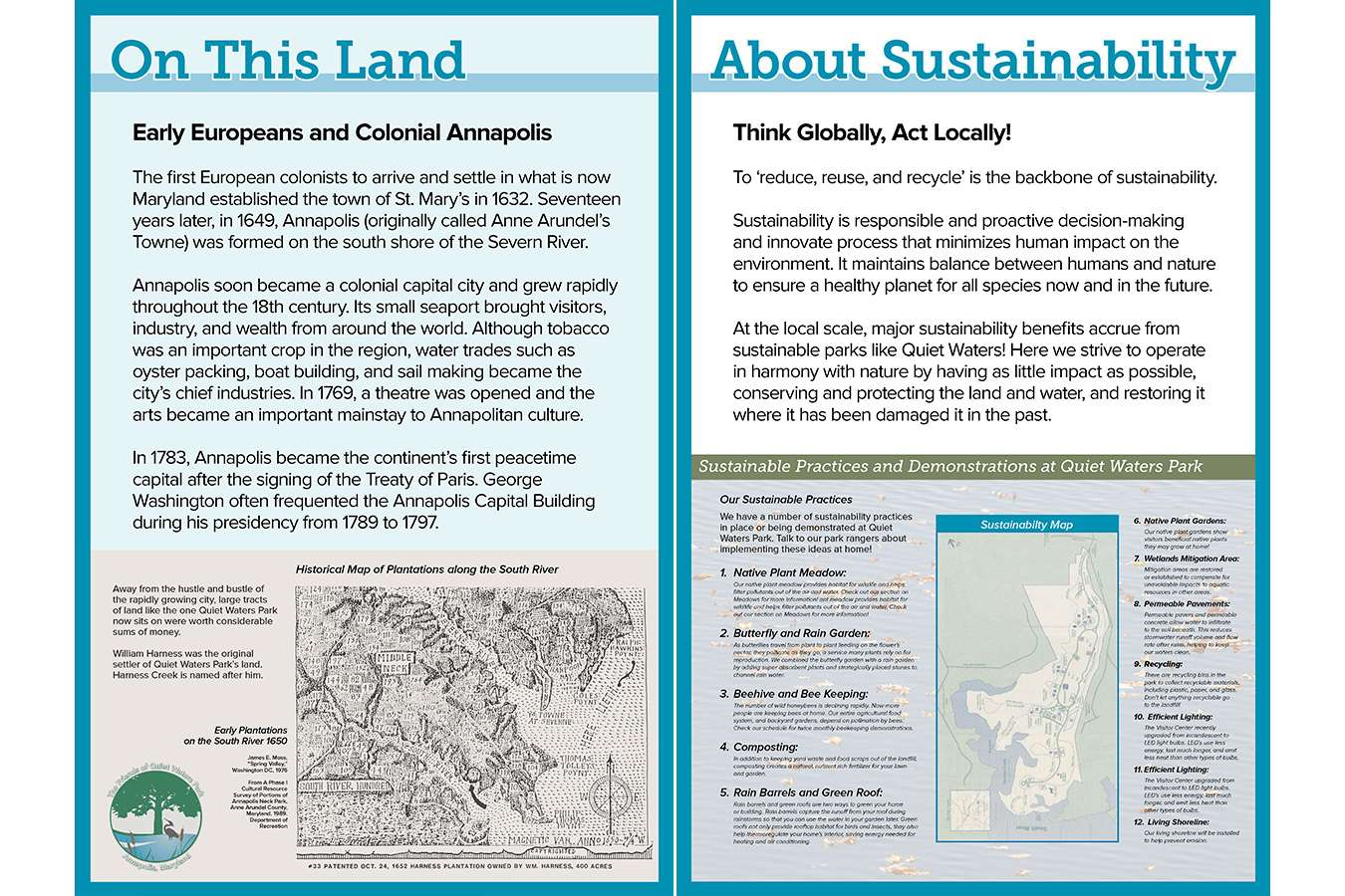 10c GM 6+7 web : Sustainability panel describes and locates all the positive environmental activities in the park