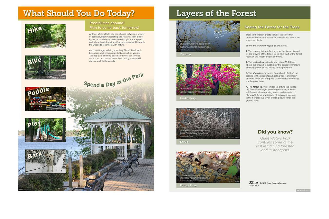 11a QWP 30x40 welc forst : Multiple images and limited text let visitors quickly get a sense of what to look for outside in the park.