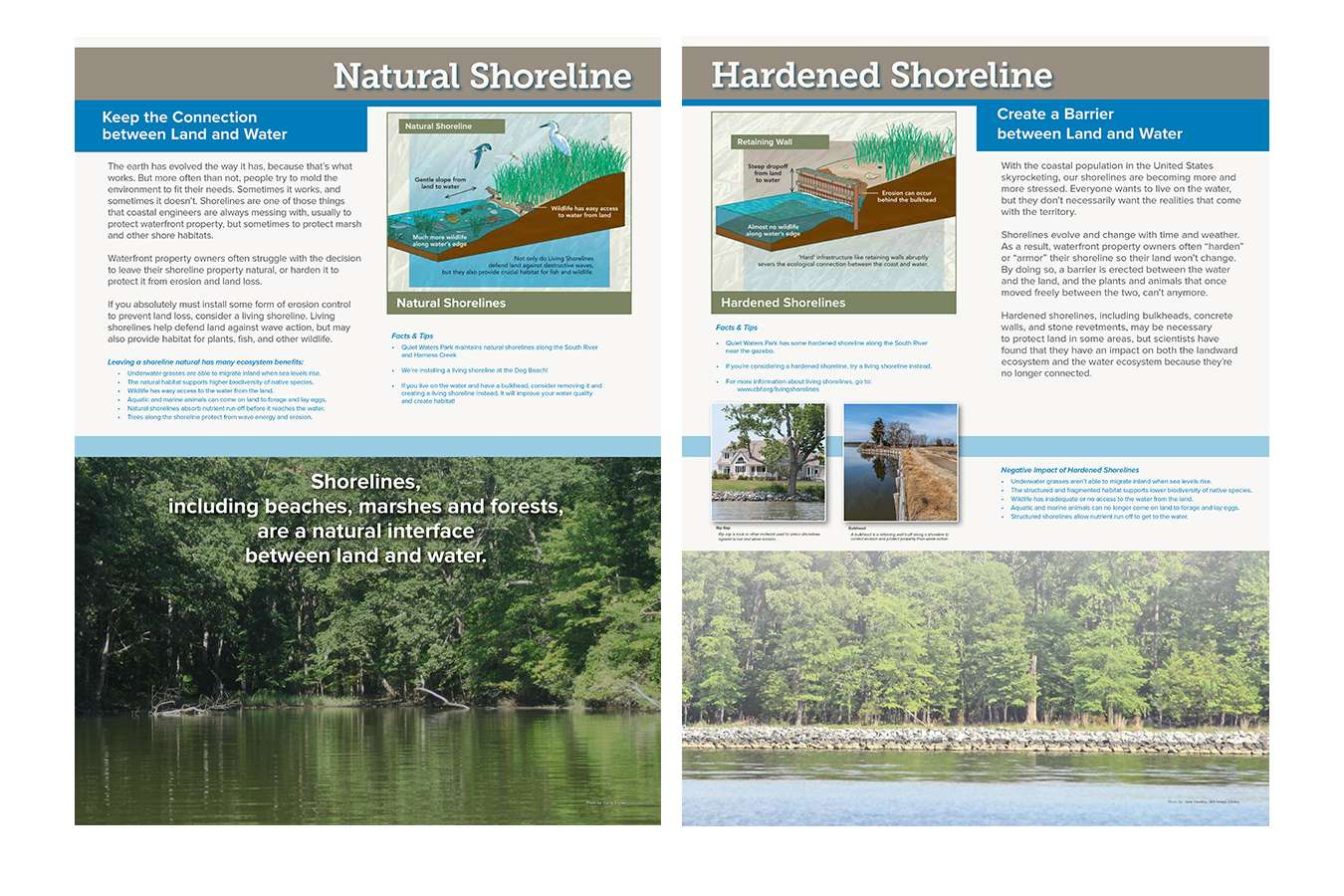 11G4 QWP 30x40 4 Nat Hard Shrline : Typical shoreline Panels compare and contrast environmental conditions at the park