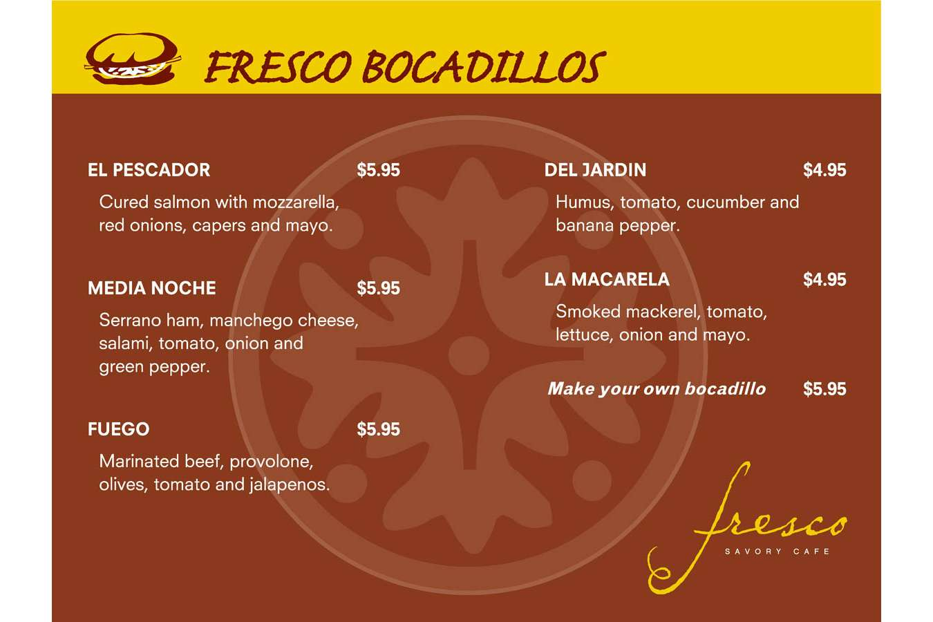 FRES BOCADILLOS : Bocadillos means sandwiches in spanish
