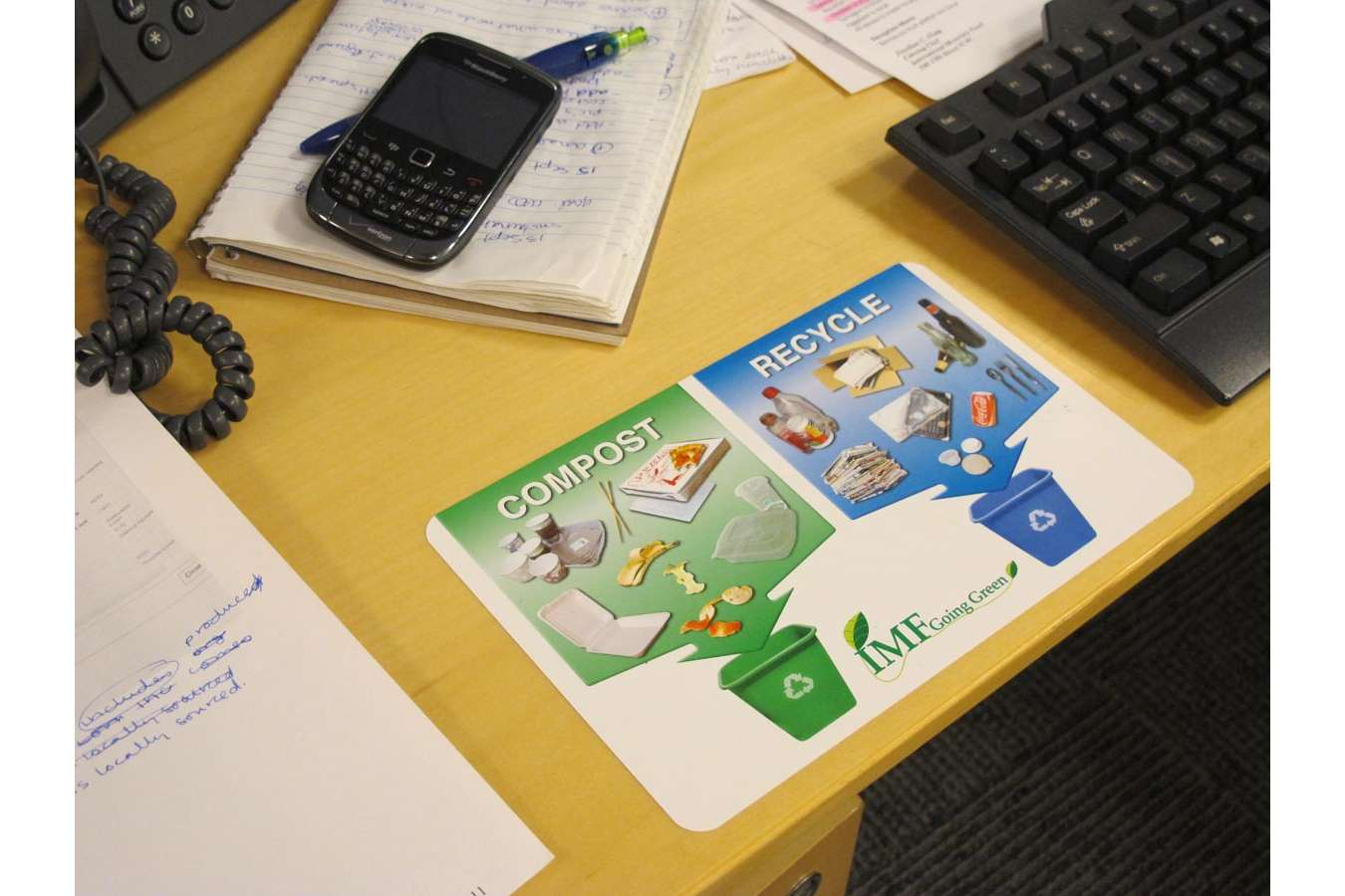 IMF Desk : Desk sticker reminds each employee what and where to recycle