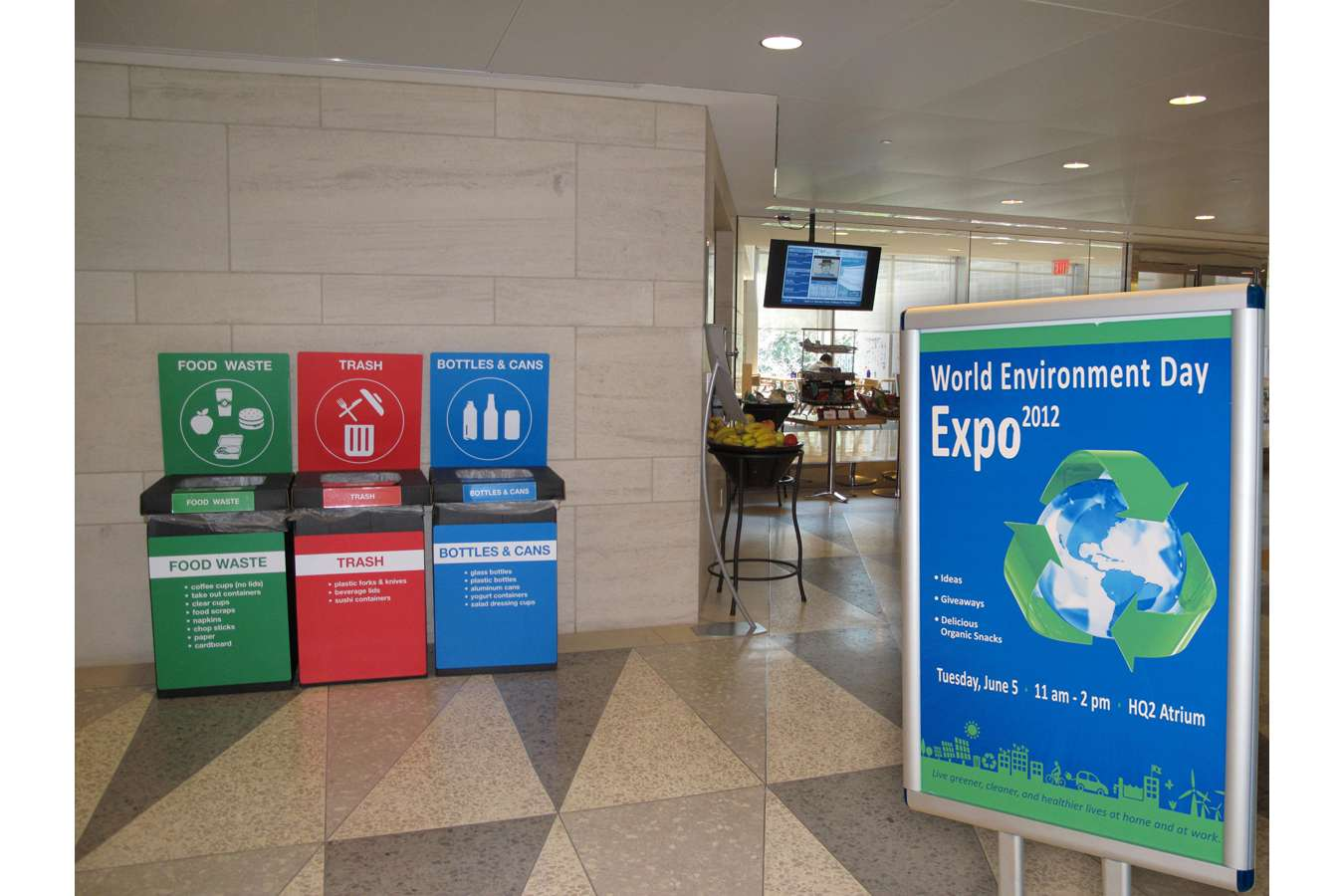 IMF Pic 2a : Recycling bins with recycled PVC signs  |  World Environment Day event poster