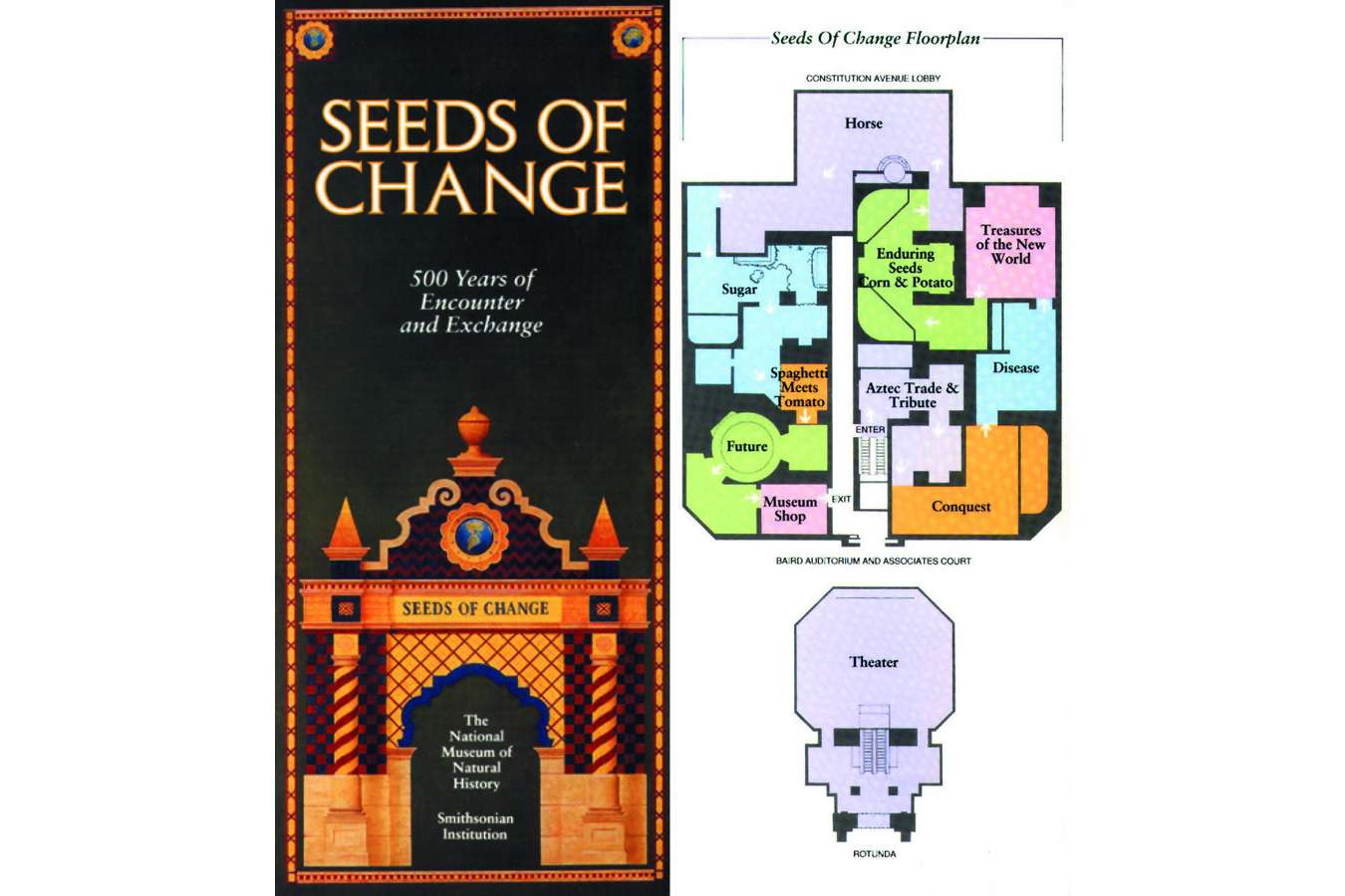 seeds guide : Exhibit guide showing layout of thematic areas