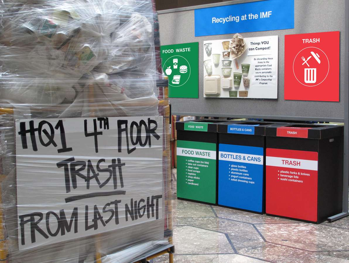 IMF Pic 1 : Paper recycled from the 4th floor of HQ1 building | Cafeteria recycling bin graphics